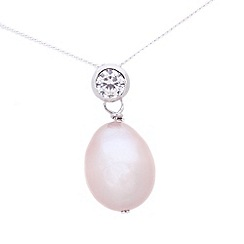 Pure Luxuries London - Gift packaged 'Geri' 9-9.5mm pink river pearl and cubic zirconia necklace