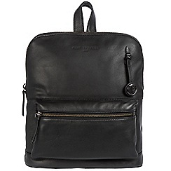 Pure Luxuries London - Black 'Ingleby' leather bag with platinum-coloured detailing