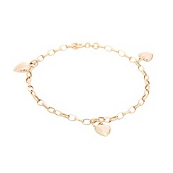 Pure Luxuries London - Gift packaged 9ct yellow gold heart bracelet