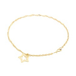 Pure Luxuries London - Gift packaged 9ct yellow gold twist curb chain and star bracelet