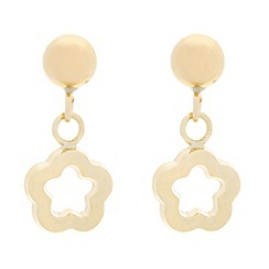 Pure Luxuries London - Gift packaged 9ct yellow gold 'Viola' cut-out flower earrings