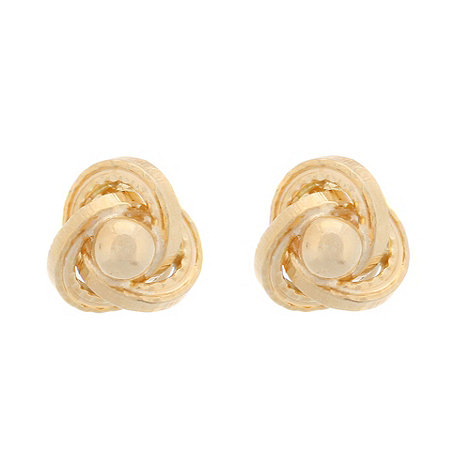 Pure Luxuries London - Gift boxed +Trinity+ small 9-carat yellow gold ball and knot earrings