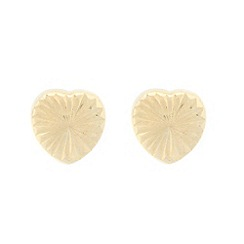 Pure Luxuries London - Gift packaged small 9ct yellow gold diamond cut heart earrings