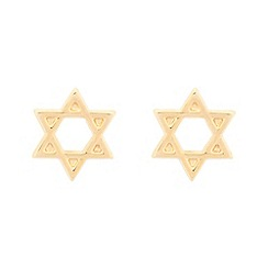Pure Luxuries London - Gift packaged 9ct yellow gold Star of David stud earrings