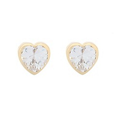 Pure Luxuries London - Gift packaged 9ct yellow gold and cubic zirconia heart earrings