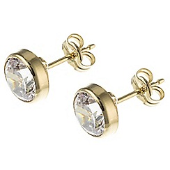 Pure Luxuries London - Gift packaged 7mm 9ct yellow gold and cubic zirconia stud earrings