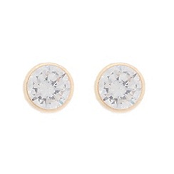 Pure Luxuries London - Gift packaged 4mm 9ct yellow gold and cubic zirconia stud earrings