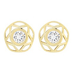 Pure Luxuries London - Gift boxed 'Anneke' 9-carat yellow gold & cubic zirconia earrings