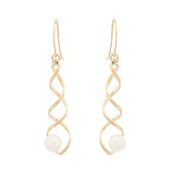 Pure Luxuries London - Gift packaged 9ct yellow gold spiral and pearl earrings