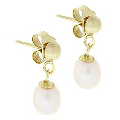 Pure Luxuries London - Gift boxed 'Antonia' 9-carat yellow gold & pearl drop earrings