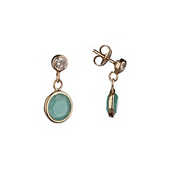 Pure Luxuries London - Gift boxed 9-carat yellow gold & aqua crystal earrings