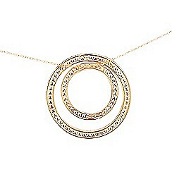 Pure Luxuries London - Gift packaged 9ct yellow and white gold double circle necklace