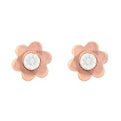 Pure Luxuries London - Gift packaged 9ct red gold and cubic zirconia flower stud earrings