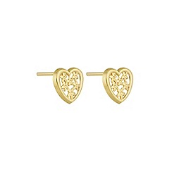 Pure Luxuries London - Gift packaged 'Shani' 18ct yellow gold filigree heart earrings
