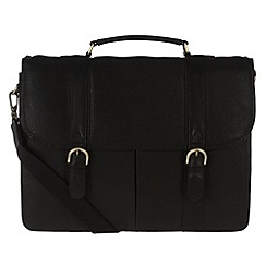 Pure Luxuries London - Black 'Terence' fine natural leather briefcase