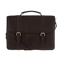 Pure Luxuries London - Two-tone dark brown 'Terrence' natural leather briefcase