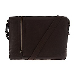 Pure Luxuries London - Two-tone dark brown 'Ben' natural leather messenger bag