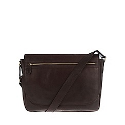 Pure Luxuries London - Dark brown 'Matt' natural leather messenger bag