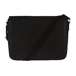 Pure Luxuries London - Black 'Dan' fine natural leather messenger bag