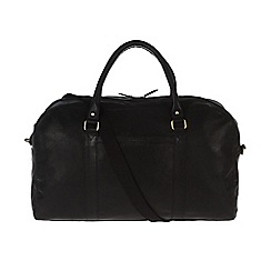 Pure Luxuries London - Black 'Cargo' fine natural leather holdall