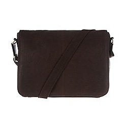 Pure Luxuries London - Two-tone dark brown 'Dan' natural leather messenger bag