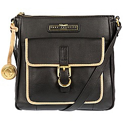 Pure Luxuries London - Black and champagne trim 'Libbi' soft leather cross-body bag - Deluxe Collection