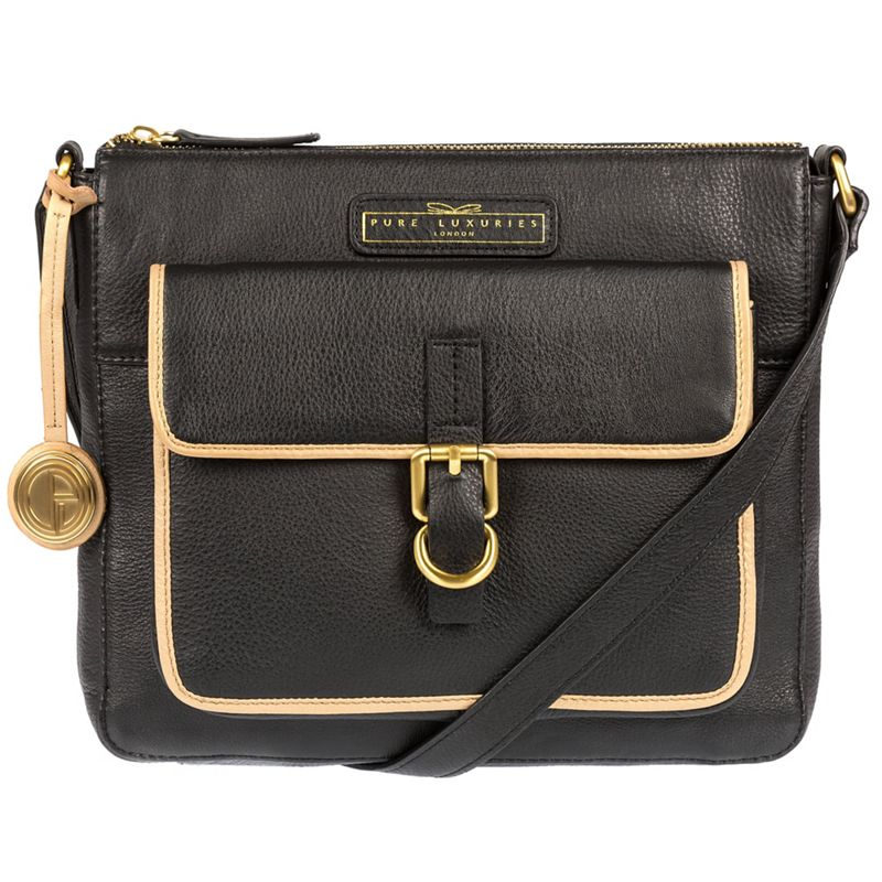 Pure Luxuries London Black and champagne trim Finola soft leather cross-body bag