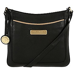 Pure Luxuries London - Black and champagne trim 'Kara' leather bag - Deluxe Collection