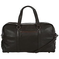 Pure Luxuries London - Dark brown 'Drake' nautral leather holdall
