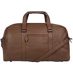 Pure Luxuries London - Dark chestnut 'Drake' leather holdall
