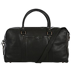 Pure Luxuries London - Black 'Shackleton' natural leather holdall