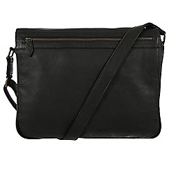 Pure Luxuries London - Black 'Lawrence' natural leather messenger bag