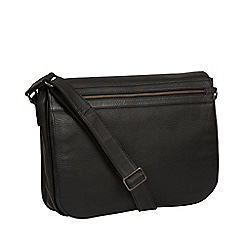Pure Luxuries London - Black 'Lawrence' leather messenger bag