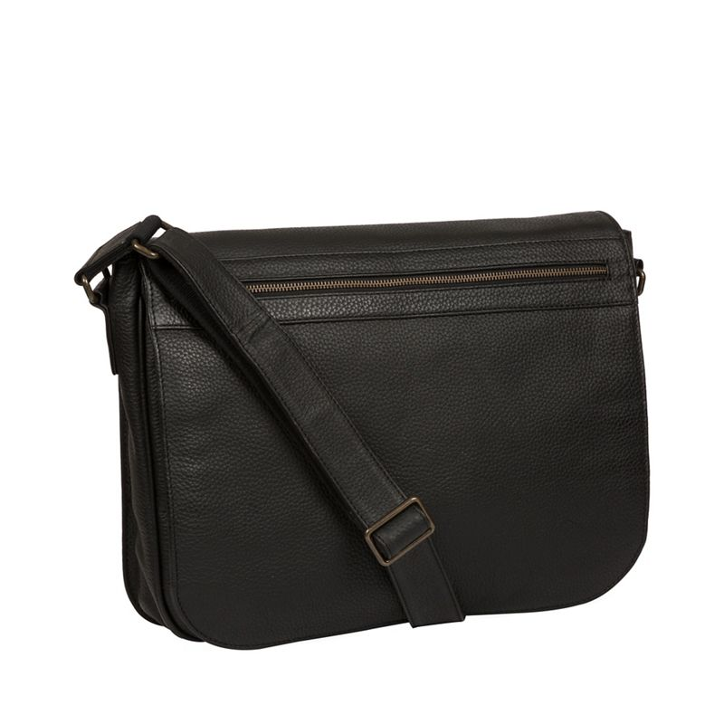 Pure Luxuries London - Black Lawrence Leather Messenger Bag