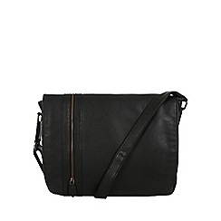 Pure Luxuries London - Black 'Byron' natural leather messenger bag