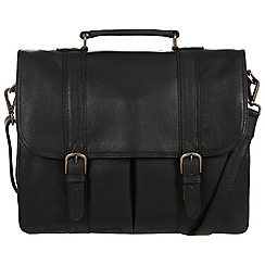 Pure Luxuries London - Black 'Caxton' natural leather briefcase