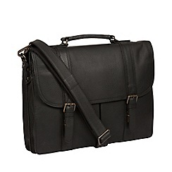 Pure Luxuries London - Black 'Caxton' leather briefcase