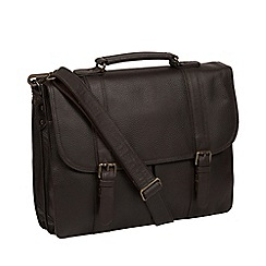 Pure Luxuries London - Brown 'Caxton' leather briefcase
