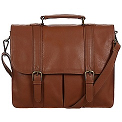 Pure Luxuries London - Chestnut 'Caxton' natural leather briefcase