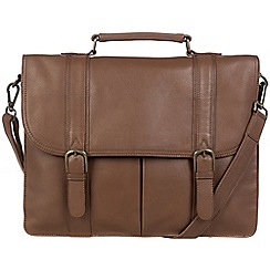 Pure Luxuries London - Dark chestnut 'Caxton' leather briefcase
