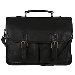 Pure Luxuries London - Black 'Scott' natural leather briefcase
