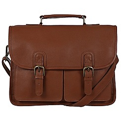 Pure Luxuries London - Chestnut 'Scott' natural leather briefcase