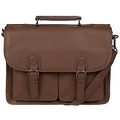 Pure Luxuries London - Dark chestnut 'Scott' leather briefcase