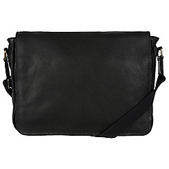 Pure Luxuries London - Black 'Keats' natural leather messenger bag