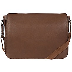 Pure Luxuries London - Dark chestnut 'Keats' leather messenger bag