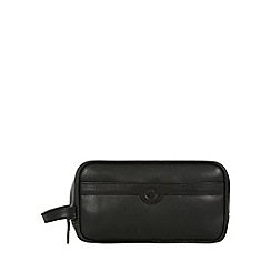 Pure Luxuries London - Black 'Moore' natural leather wash bag