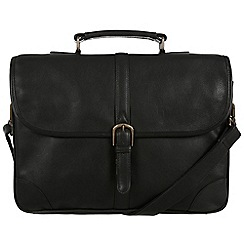 Pure Luxuries London - Black 'Wallace' natural leather briefcase