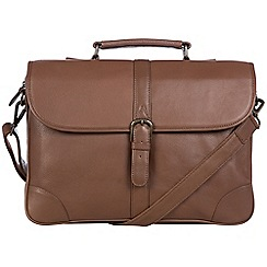 Pure Luxuries London - Dark chestnut 'Wallace' leather briefcase