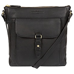 Pure Luxuries London - Black 'Alloa' soft cowhide leather cross-body bag