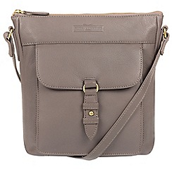 Pure Luxuries London - Grey 'Alloa' soft cowhide leather cross-body bag